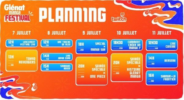 Planning du Festival Glénat Manga