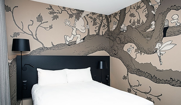 Une des deux chambres décorées par Zep