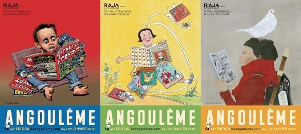 Les trois affiches du festival d'Angoulême 2019