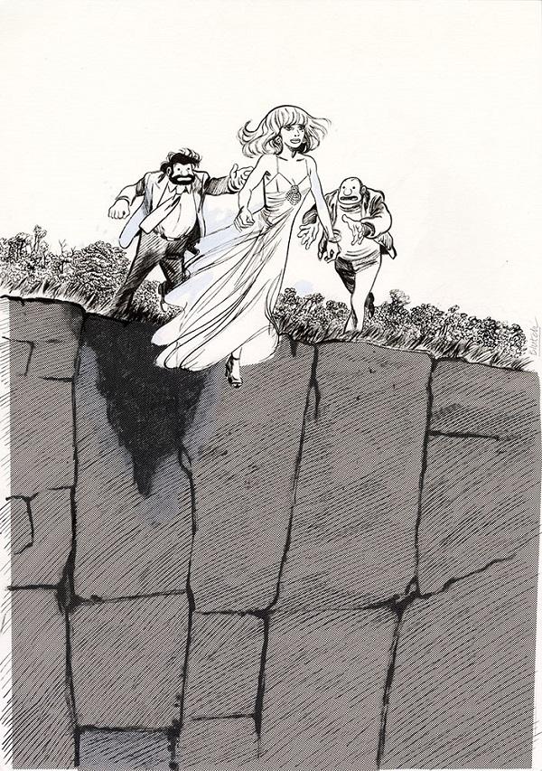 Illustration originale de couverture de l'édition couleur et noir et blanc de Tif et Tondu - Mais où est Kiki ?