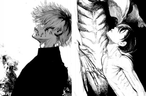 On retrouve le style d'Ishida présent dans Tokyo Ghoul (à gauche) dans cette préview de Choujin X (à droite)