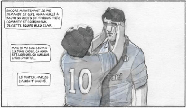 Cette bande dessinée retrace les mauvais moment de la carrière de Maradona