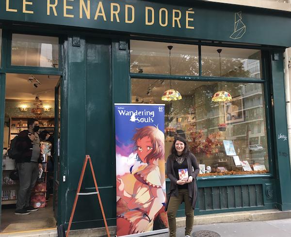 Zelhian devant la librairie du renard Doré (Vème arrondissement) le 16 octobre