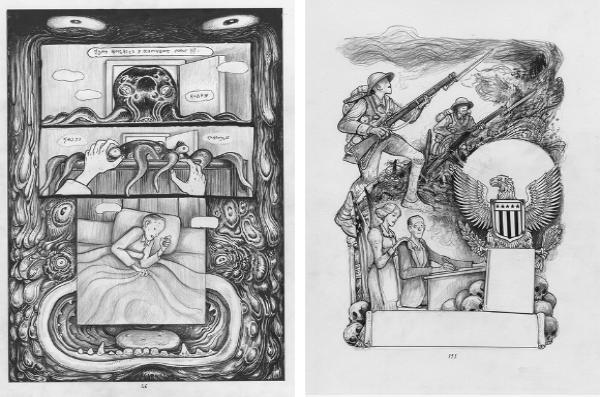 Deux planches issues de l'album Frink and Freud exposées à Paris