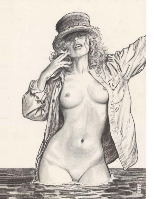 MILO MANARA Giuseppe Bergman Illustration originale réalisée pour l'exposition Les Vénus de Milo en 2012. Signée. Fusain sur papier 49,6 × 69,7 cm (19,53 × 27,44 in.) 12 000 - 14 000 €
