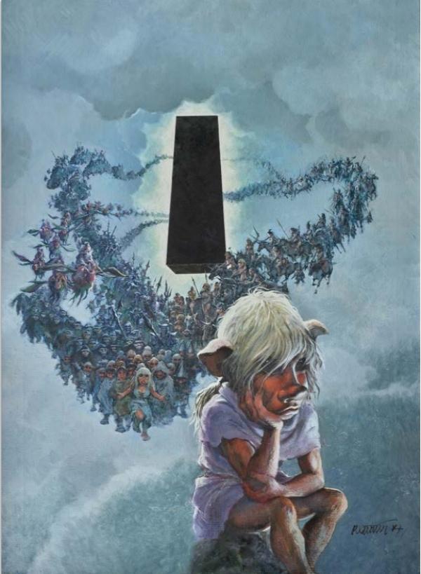 GRZEGORZ ROSINSKI LE GRAND POUVOIR DU CHNINKEL Casterman 1988 Couverture originale. Signée. Huile sur toile 60 × 90 cm (23,62 × 35,43 in.) 70 000 - 80 000 €