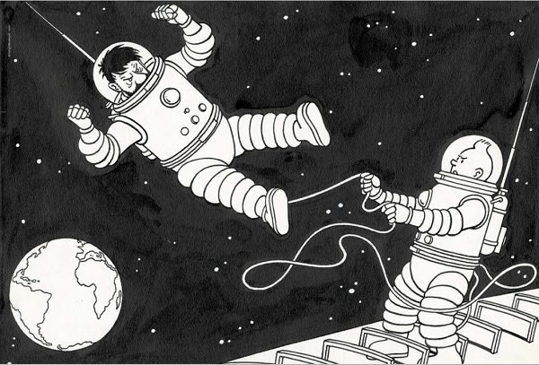 """HERGÉ TINTIN On a marché sur la Lune (T.17), Casterman 1954 Illustration réalisée en 1952 pour un puzzle de la gamme de produits """"Timbre Tintin"""". Encre de Chine et gouache blanche sur papier 32,7 × 23,4 cm (12,87 × 9,21 in.) 70 000 - 80 000 €"""