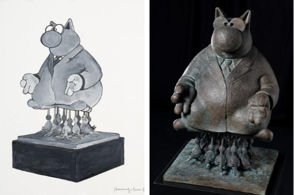 Le chat s'expose en Bronze
