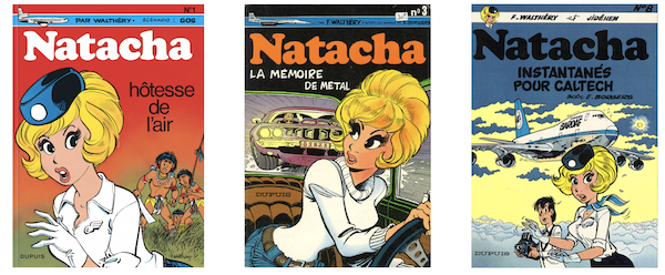Trois couvertures de tomes de la série Natacha