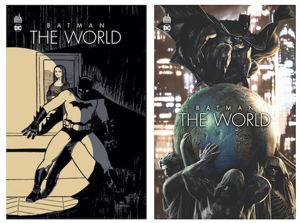 De gauche à droite: la couverture alternative et régulière de Batman the World