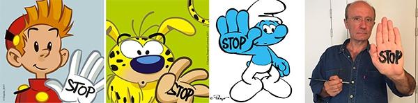 Spirou, Masupilami, Schtoumpf et Geluck en plein selfie pour Stop Bombing Civilians