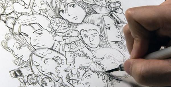 Naoki Urasawa, résumant sa carrière en un dessin