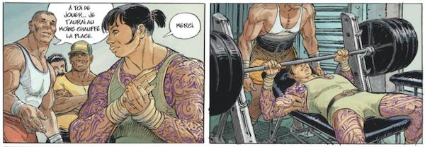 Azami, la protagoniste de l'histoire, est policière mais aussi culturiste