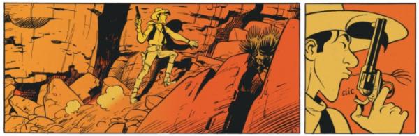 Lucky Luke est attaqué par un chasseur de primes