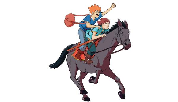 Liam et Galahad en route pour l'école de chevalerie