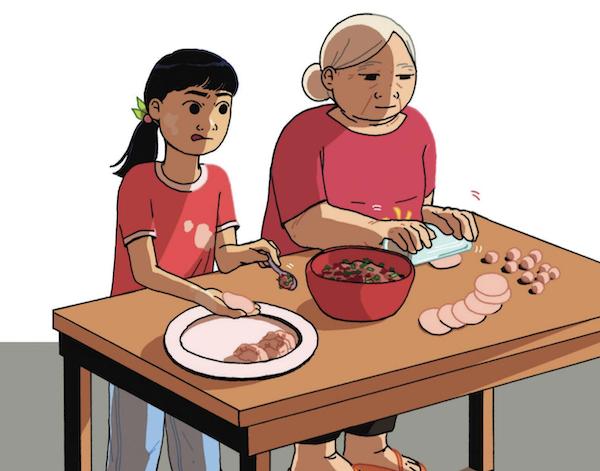 Cici adore cuisiner avec sa grand-mère