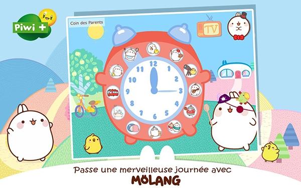 Page d'accueil de l'appli Molang, disponible gratuitement sur Google Play et l'Apple Store