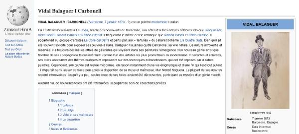 Capture d'écran de la page Zidroupédia de Vidal Balanguer