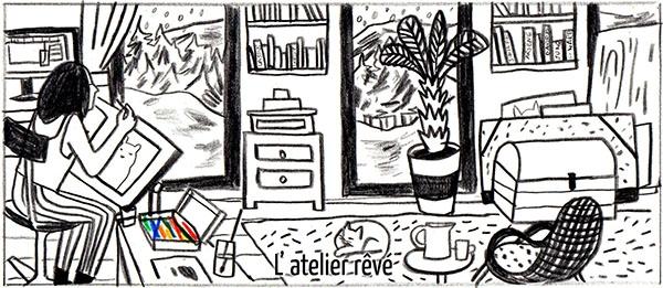 Mathilde Poncet en 5 dessins : l'atelier