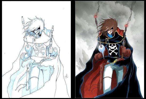 une longue cape avec une tête-de-mort sur le ventre, une cicatrice sur l'œil gauche, les cheveux en bataille… Voici le capitaine Albator !