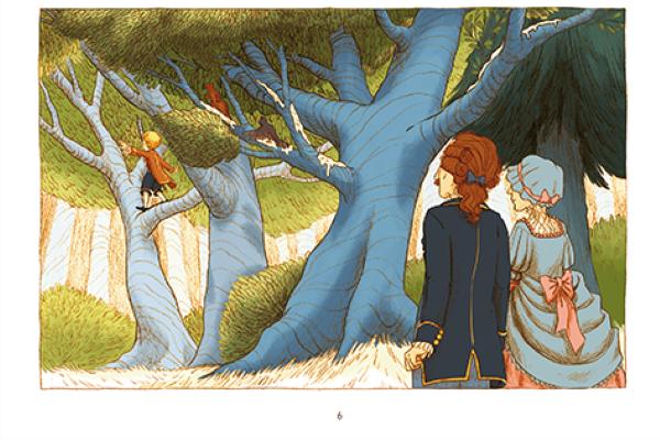 Le héros évolue de son enfance à l'âge adulte d'arbres en arbres