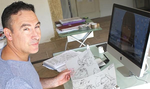 Jim devant son poste de dessin