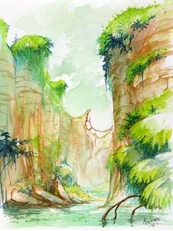 Recherches graphiques d'Eden à l'aquarelle