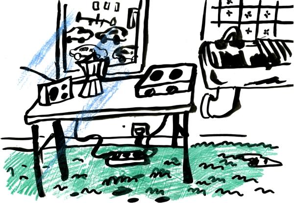 Avant de découvrir l'atelier suréquipé de Fanny et sa moquette verte Babar , allez sur son blog !