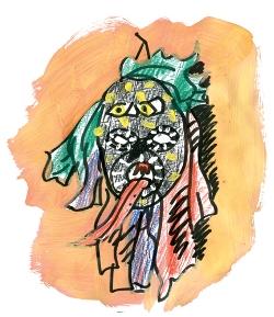 Fanny nous a dessiné son objet fétiche : un masque d'Halloween, fabriqué par un de ses amis !