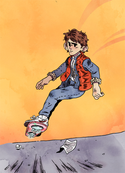 Pour cette Toile montante, Nicolas Demettre nous a dessiné un héros aux aventures peu banales : Marty McFly de Retour vers le futur.