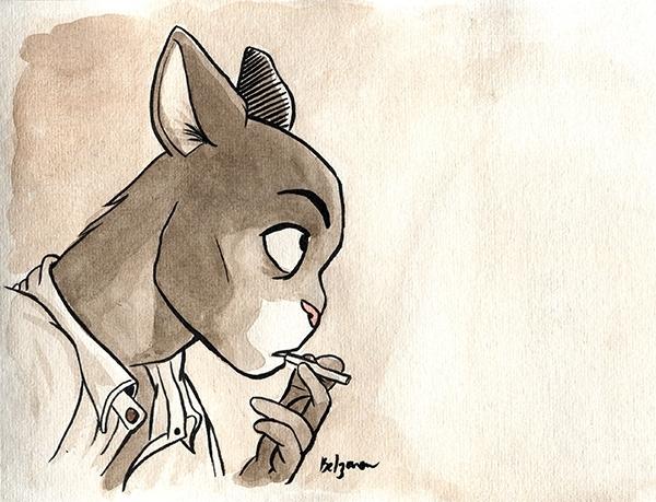 Belzaran posera jamais son crayon tant qu'il n'aura pas atteint le niveau de Juanjo Guardino, dessinateur de Blacksad.