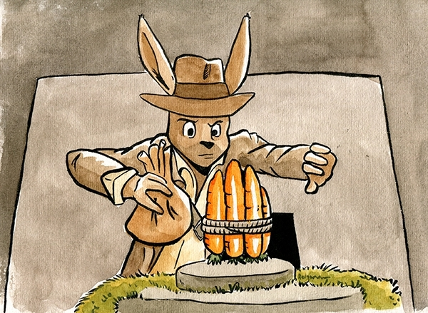 Quitte à se déguiser d'oreilles de lapins, Belzaran enfilerait bien le costume de l'archéologue le plus connu du cinéma : Indiana Jones !