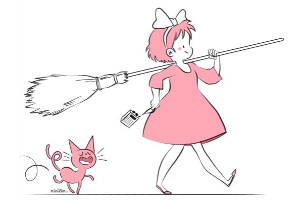 Si MiniKim n'avait pas emprunté le chemin de la BD, elle suivrait Kiki la Sorcière dans ses aventures !