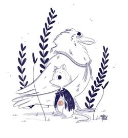 Pour cette Toile montante, Eva Roussel a griffoné deux personnages du dessin animé de son enfance : Brisby et le Secret de Ninmh.