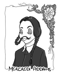 Lorsqu'elle ne lisait pas de mangas, Noémie Grenouille passait ses après-midi à suivre les pitreries de la diabolique Mercredi Adams.