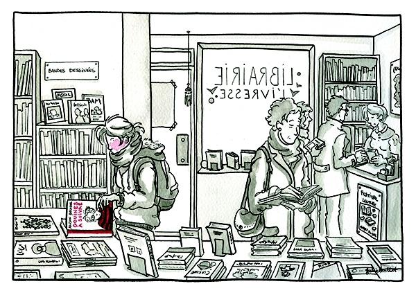 Pour cette Toile montante, Julie Guillot a réinterprété une de ses oeuvres favorites : la BD Gouines à suivre d'Alison Bechdel.