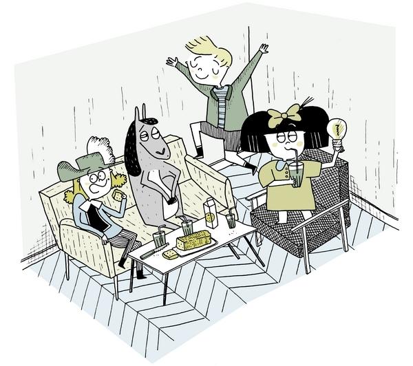 Pour cette Toile montante, la dessinatrice Anne-Sophie a ramené les héros de son enfance : Billy Elliot, Mafalda et Albert le 5ème mousquetaire accompagné de son âne.