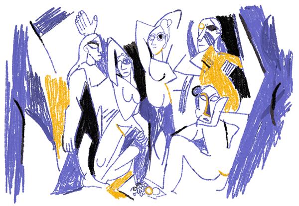 Amoureuse du travail de Picasso, Kathrine Avraam a réinterprété une de ses toiles : les Demoiselles d'Avignon.