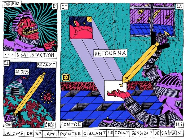 Dans les planches d'Hortense, paroles et explosions de couleurs se mêlent avec harmonie.