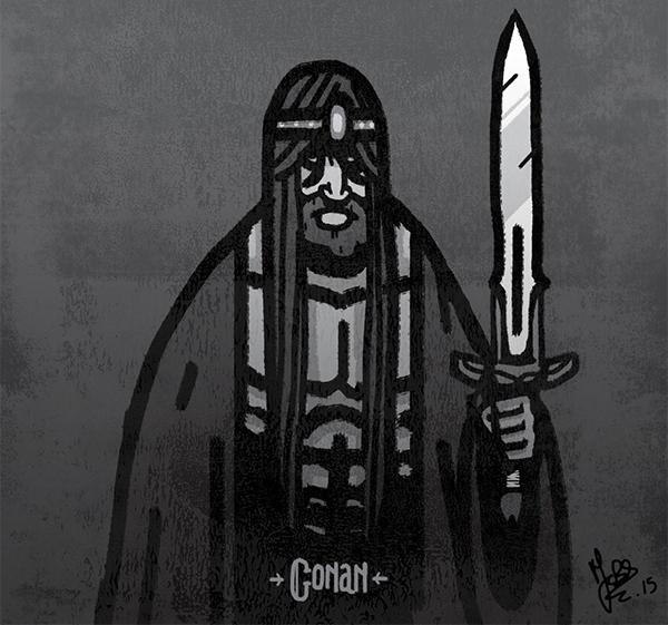 Le fameux Conan le Barbare fascine Marc Brouillon. Pour voir l'influence qu'occupe le guerrier sur ses illustrations, rendez-vous sur son blog !