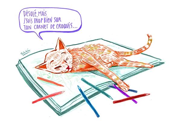 Pour accompagner ses instants créatifs, Robabée n'a pas meilleur compagnon que son chat.