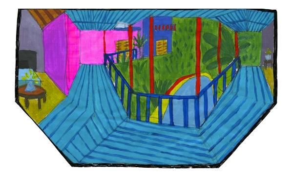 Pour cette Toile montante nous a fait pastiche des terrasses peintes par David Hockney. Pour découvrir d'avantage ses influences et son univers, rendez-vous sur sa page Instagram !