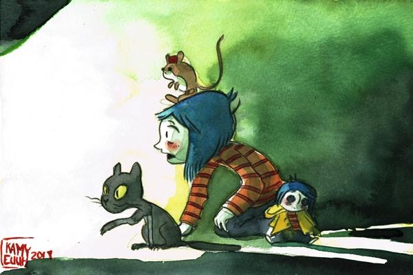 En jeunesse, Kamyeuuh aime l'univers à la fois mignon et inquiétant du film d'animation Coraline.