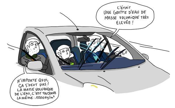 Les sciences poursuivent le quotidien de Bazil, même une goutte sur le pare-brise d'une voiture.