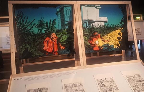 Des planches de l'album de Tif et Tondu, avec Blutch au dessin et son frère Robber au scénario, à paraître à l'automne 2019 (éditions Dupuis), exposition