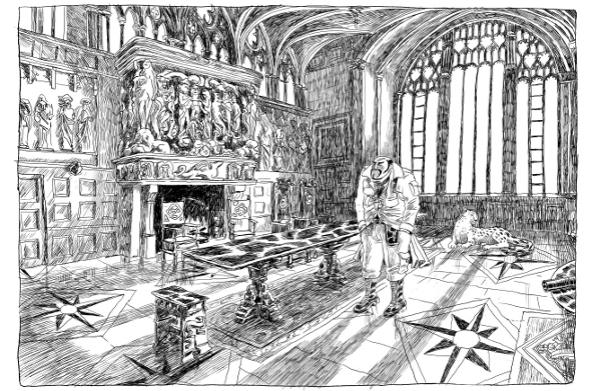 Recherche autour de Lord Asriel, au milieu d'une salle d'Oxford