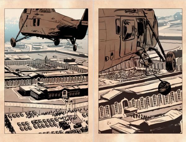 L'hélicoptère survole la prison d'Attica